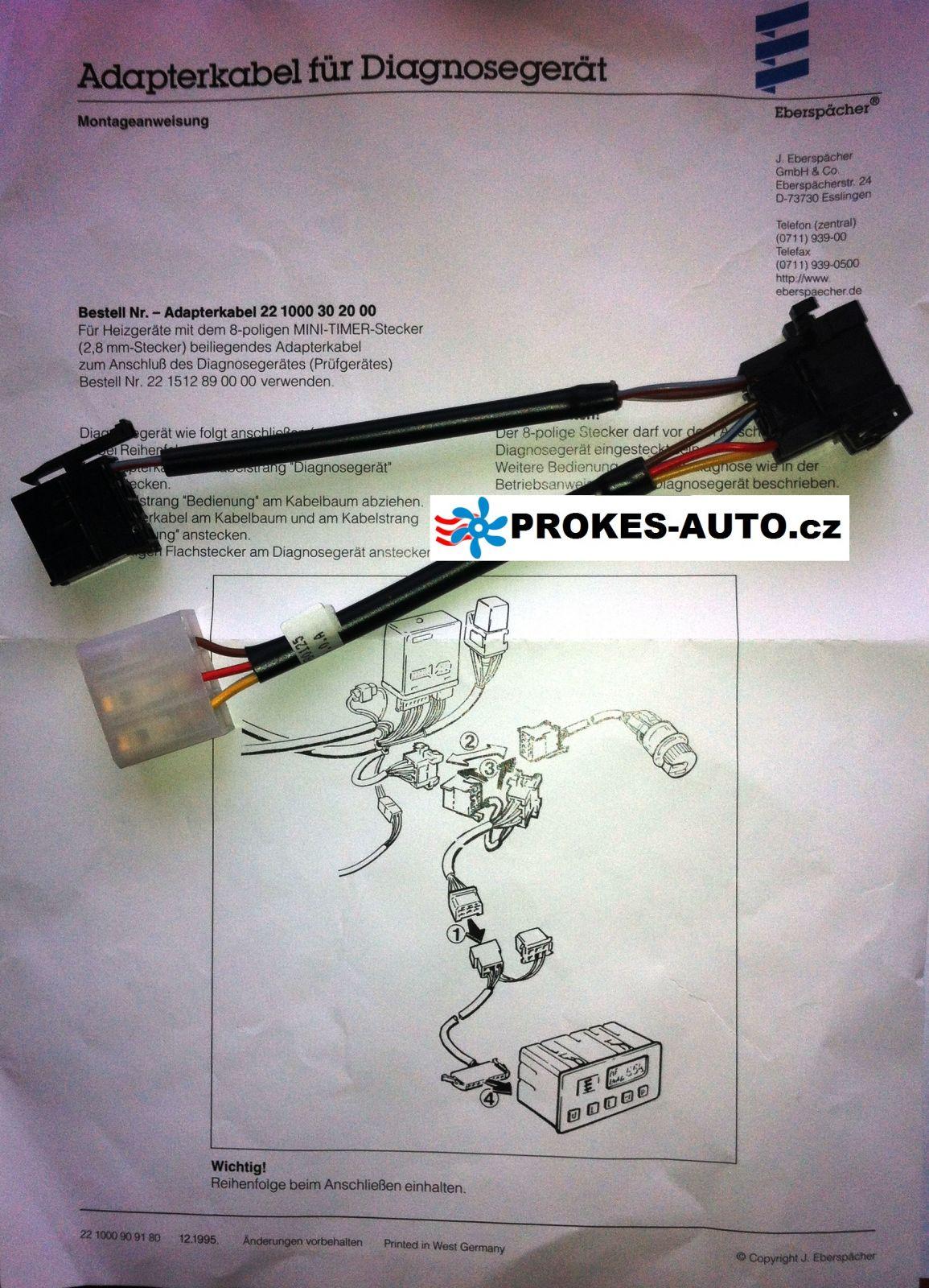 Diagnostic adapter cable for heating D1LC / D3LC / D3LP / D5LC 221000302000 Eberspächer