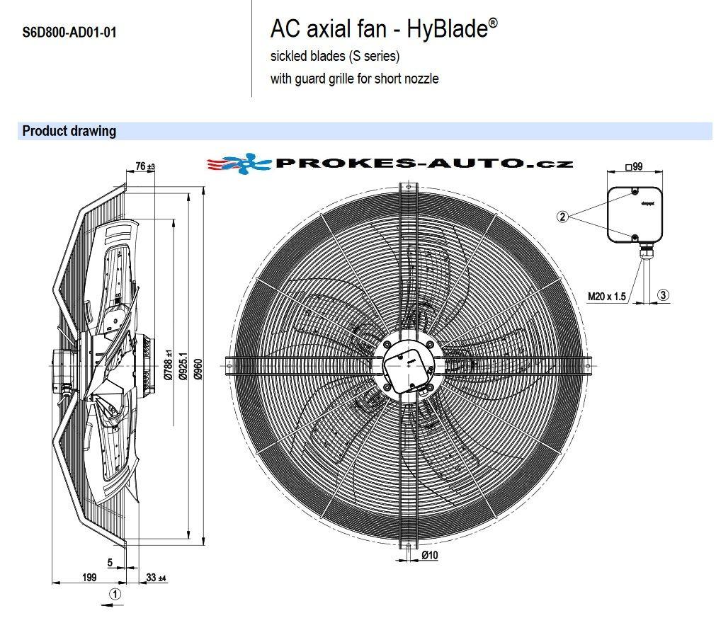 EBM PAPST suction fan 800 mm 400V 6 poles S6D800-AD01-01 / S6D800-CD01-01