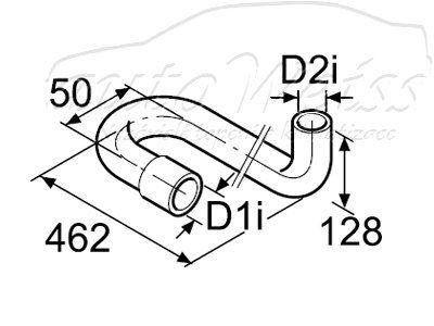 Water hose shaped 15mm, 180/90° Webasto